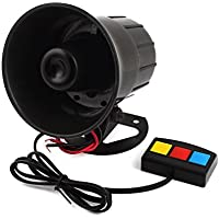 sourcingmap® Cuerno Claxon 3 tono alta volumen sonido música Negro plástico para motos camiones 30W DC 12V