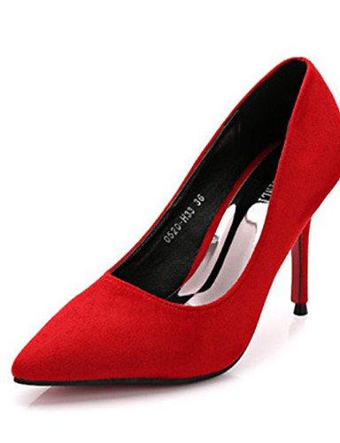 WSS 2016 Chaussures Femme-Décontracté-Noir / Rouge / Gris-Talon Aiguille-Talons-Chaussures à Talons-Laine synthétique black-us7.5 / eu38 / uk5.5 / cn38