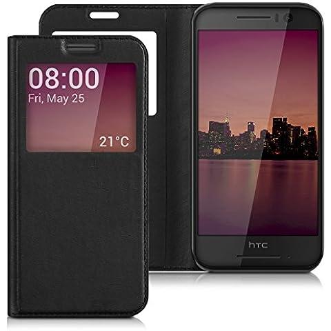 kwmobile Custodia flip case per HTC One S9 con finestra - Custodia protettiva richiudibile in ecopelle in stile Flip Cover in nero