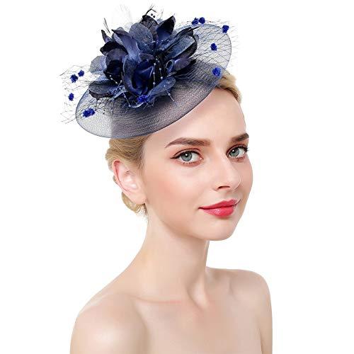WYJHNL Fascinator Hüte für Frauen Flower Mesh Headwear mit Haarspange und Federschmuck Tea Party Hüte für Frauen Hochzeit Cocktail Tea Party,Blue