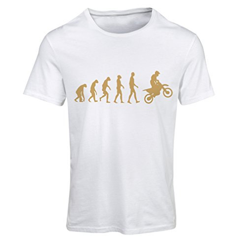lepni.me Maglietta Donna Evoluzione Motocross, Moto Sporca, Maglia da Moto, Abbigliamento da Corsa, Moto da Fuoristrada (Medium Bianco Oro)