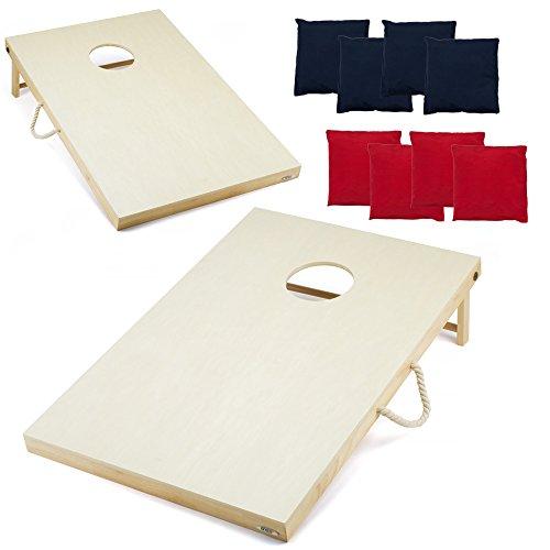 GSE Games & Sports Premium Massivholz Cornhole Bean Bag Toss Spiel Set mit 8Bean Bags von EPP (4'x2' Oder 3'x2'), 3' x 2', 3' x 2' (Toss Bag Boards Bean)