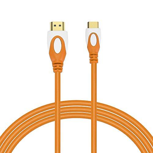 KEZIO High Speed Mini HDMI zu HDMI Kabel - Unterstützt 4K Ultra HD, 3D, 1080p (Farbe : Orange)