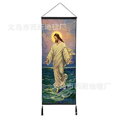 Jesucristo Colgando Tela de algodón salón de la Corte de la Virgen María Fondo Pintura Pared Colgando Pintura Iglesia decoración 2 120 * 45 cm