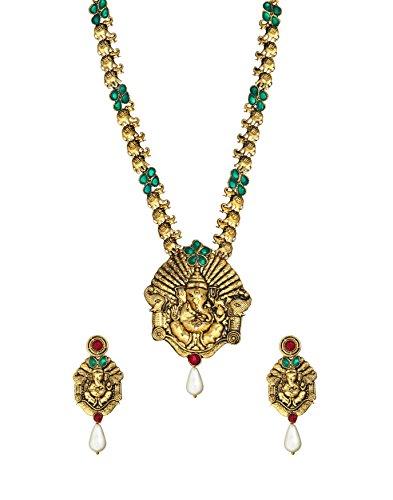 Zaveri Pearls Beautiful Ganesha necklace set -ZPFK3998