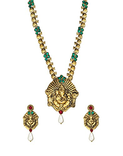 Zaveri Pearls Pendant Necklace and Earrings Set For Women (Golden)(ZPFK357)