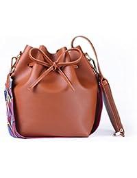 SMARTRICH secchio borsa da donna in pelle PU con cinturino colorato cd7748cb1e3