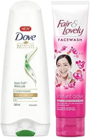 Dove Hair Fall Rescue Conditioner, 180ml & Fair & Lovely Fairness Face Wash, 100g