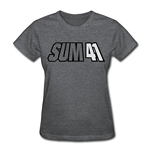FENGTING Women's Sum 41 Band Logo T-shirt DeepHeather Tee (Large)