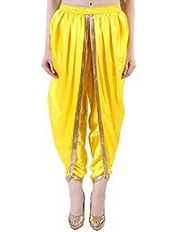 Khazana Basics Yellow Satin Dhoti Pant, Patiala Dhoti Salwar for Women, Girls (JTDHS6101, Yellow)
