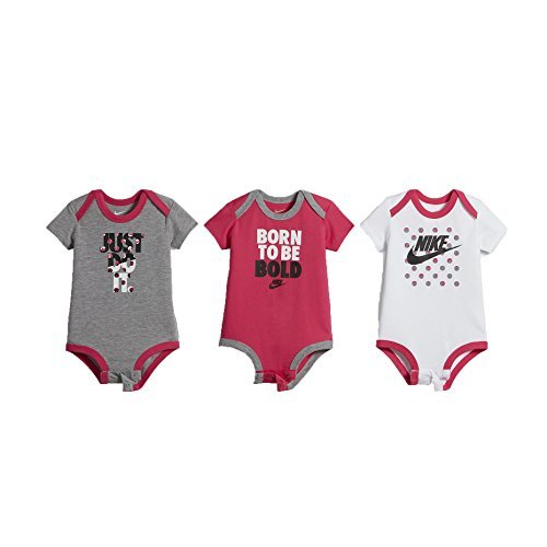 Nike Swoosh Three-Piece Infant Baby Bodysuit Set (6-9 Months, Pink_Polka_Dot (B989) / White/Grey/Pink)