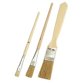 Mako Universalpinsel 3er-Set, helle Chinaborsten, Emaillelackpinsel Nr. 1, Gussowpinsel Nr. 10, Flachpinsel 25 mm