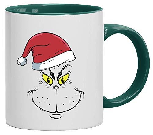 ShirtStreet Weihnachtsgeschenk bedruckte 2-farbige Kaffeetasse Bürotasse mit Spruch Motiv Weihnachtsmuffel Face, Größe: onesize,weiß/grün