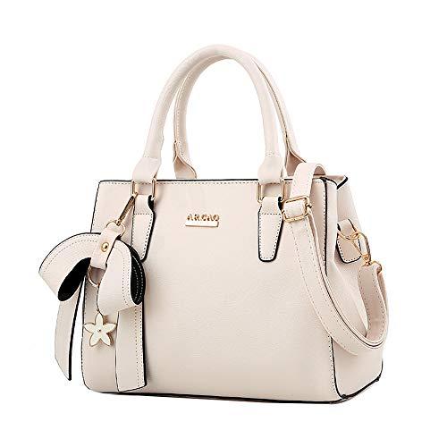 Lazzboy Handtaschen Frauen-Damen-Beutel Beutel Mode-großer Bogen-Mörder(Beige) -