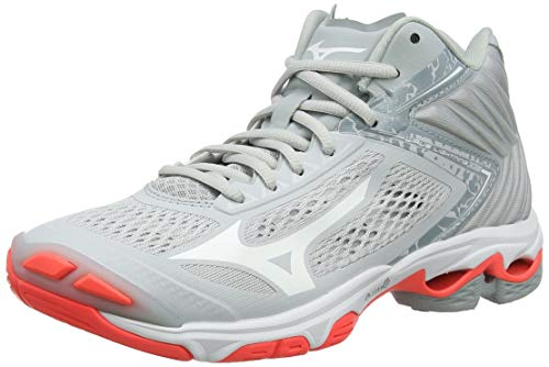 Mizuno Wave Lightning Z5 Mid, Scarpe da Pallavolo Donna, Grigio (GlacierGray/DarkShadow/FieryCoral 60), 42 EU