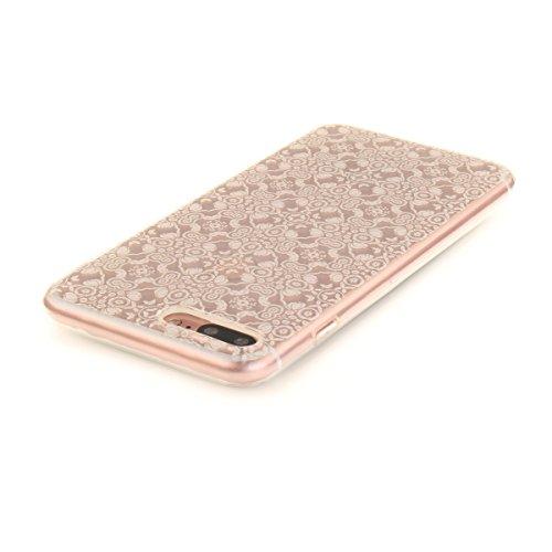 iPhone 7 Plus Hülle, iPhone 7 Plus Hülle, Gift_Source [ Pinguin ] Hülle Case Transparent Weiche Silikon Schutzhülle Handyhülle Schutzhülle Durchsichtig TPU Crystal Clear Case Backcover Bumper Case für E1-Weißer Spitze