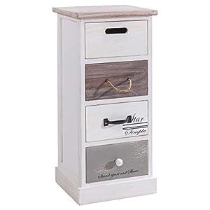 CARO-Möbel Schubladenregal Salva Kommode Standregal Aufbewahrungsregal in weiß, Shabby Chic Vintage Look, mit 4…