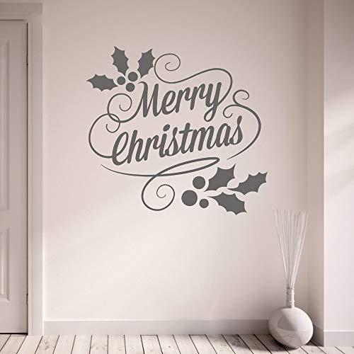 GUDOJK Wandaufkleber Wandtattoo Living Ro Wandaufkleber Flur Frohe Weihnachten und Holly Vinyl Wandkunst Dekoration -