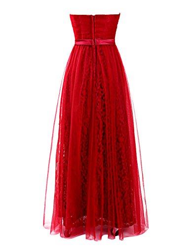 Dresstells, robe longue de soirée dentelle , robe de cérémonie col en cœur, robe longueur ras du sol de demoiselle d'honneur Lilas