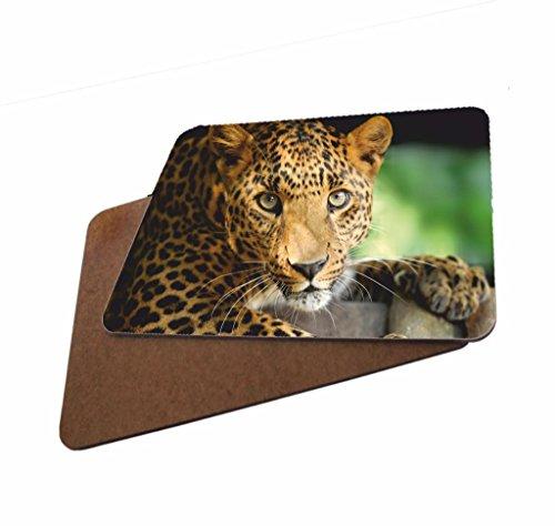 The Lazy Cow Leopard Untersetzer aus Holz, 4 Stück, Abbildung#13 - Lazy Leopard