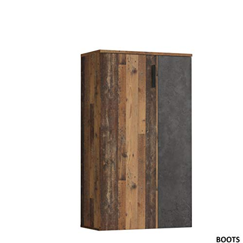 FORTE Schuhschrank klein, Holzwerkstoff, Old Wood Vintage Dekor + Betonoptik Dunkel, 68.90 x 34.79 x 120,41 cm, One Size
