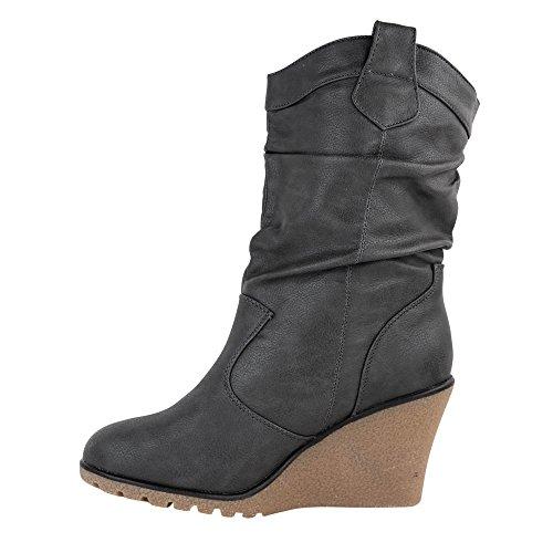 Damen Stiefel leicht gefüttert Stiefeletten Keilabsatz Boots ST188 Schlupfstiefel High Heels Grau