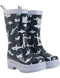 Hatley Boys' Rain Wellington Boots, Shark Frenzy, 3 UK 34 EU