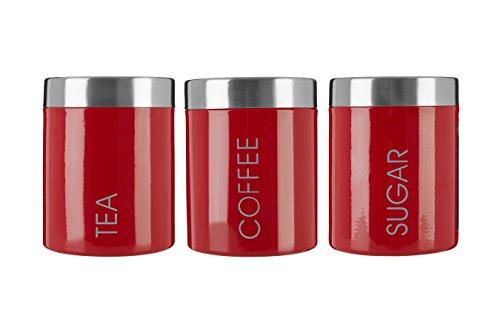 Premier Housewares Liberty Behälter für Tee, Kaffee und Zucker, edelstahl, Rot, rot