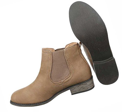 0e08da248e73 Damen Boots Schuhe Chelsea Stiefeletten Schwarz Grau Braun 36 37 38 39 40 41  Hellbraun ...