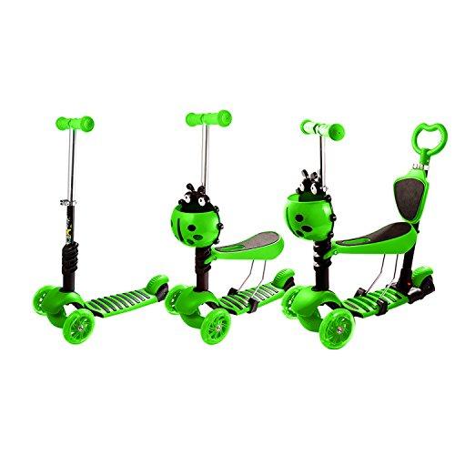 WeSkate Kinderscooter 3-in-1 Kinderroller mit Sitz 3 Räder Verstellbare Mini Scooter für Kleinkinder Jungdenliche Mädchen mit Blinkenden LED-Rollen ab 2 Jahre 40 kg Blau