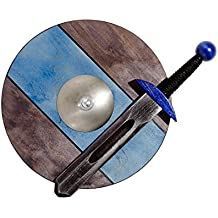 Small VIKING / KNIGHT BLUE Set: Sword 40cm / 15.75in and Shield 34cm / 13.4in Wooden Toy for Kids / Children