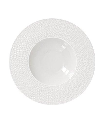 The Kitchenette - lot de 4 assiette creuse 23cm en porcelaine blanche martele