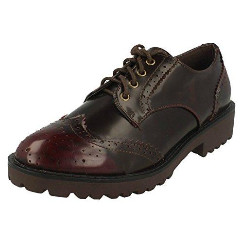Spot On Mesdames brougue Motif Chunky semelle Chaussures à lacets Rouge - Bordeaux