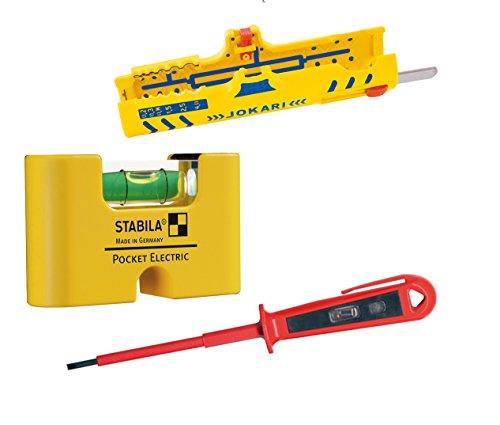 Installations-Set - Secura Super Entmantler No.15 + Stabila Wasserwaage Pocket Electric + HKR Phasenprüfer