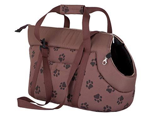 Hobbydog Borsa da Trasporto per Cani e Gatti, Taglia 2, Colore: Marrone Chiaro con Zampe Stampa