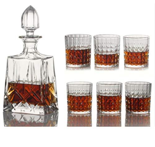 Yycdd bicchiere di cristallo senza piombo - set da 7 pezzi, tazza da whisky boccale da birra decanter confezione regalo bottiglia di vetro, alla moda/la scelta migliore