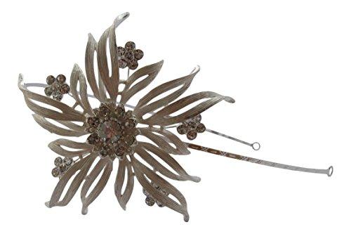 Pick a Gem Silber Swarovski Kristall Blume Haarband Stirnband Seite Tiara Hochzeit Haar Zubehör (Tiara-haar-zubehör)