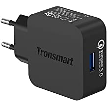 Tronsmart - Cargador USB de Pared con Carga Rápida Quick Charge 3.0 con Certificación Qualcomm Enchufe Europeo para iPad, iPhone, Samsung, Huawei, Asus, Xiaomi y otros Dispositivos USB