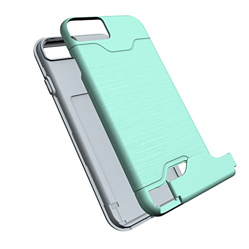 "Etui iphone 7 Coque , ivencase Menthe Verte [Shockproof] [Extra Grip] Hybride Etui avec [Card Slot & Holder] pour iPhone 7 4.7"" Mint Green"
