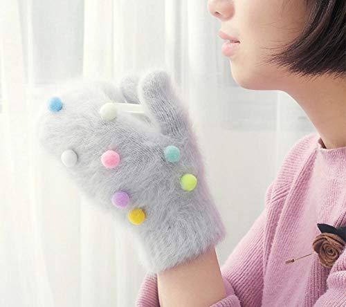 Winter Handschuhe weibliche Farbe Ball Kaninchenfell Handschuhe Fingerlose Strickhandschuhe Frauen warme Handschuhe Blue_Free Größe