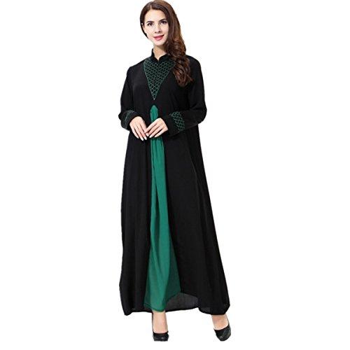 Dreamskull Damen Frauen Muslim Abaya Dubai Muslimische Kleid Kleidung Kleider Arab Arabisch Indien Türkisch Casual Abendkleid Hochzeit Kaftan Robe Lang Maxikleid S-3XL (XL, Grün)