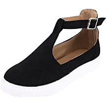 ef9a9fdee02 Espadrilles Femme Automne Chaussures Plates Bride Cheville à Boucle en Daim  Métallisé Cuir