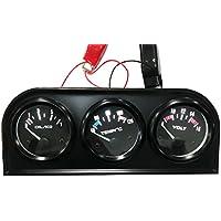 KKmoon Panel de indicadores electrnicos de 52 mm 3 en 1 para coche o moto: Presin del aceite, temperatura del agua y voltmetro