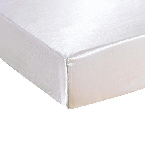 DuShow Satin-Spannbetttuch mit hohem Steg - atmungsaktiv, weich, komfortabel, knitterarm, schmutzabweisend, lichtfest und abriebfest, Seide, weiß, Doppelbett -