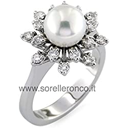Anillo en Oro Blanco 18Kt con Perla y Diamantes