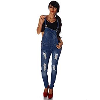 10697 Fashion4Young Damen Latzhose Hose pants mit Träger Röhren Jeans Overall Jeanshose Trägerhose (XS=34, Blau)