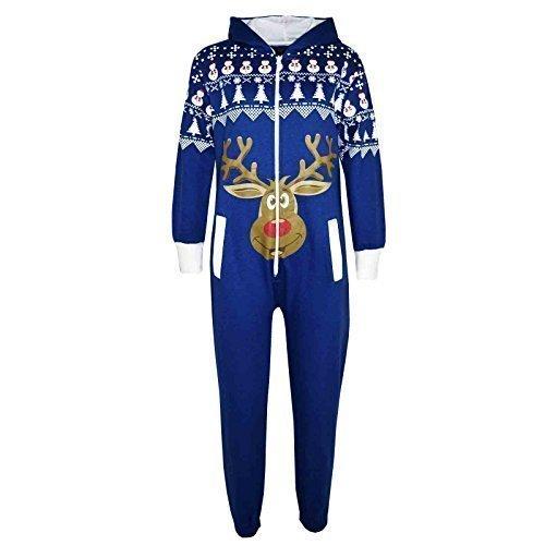 Kinder Mädchen Jungen Neuheit Weihnachten Rentier-aufdruck Fleece Overall Einteiler Hausanzug Kostüm 5-13 Jahren - Königsblau, 158