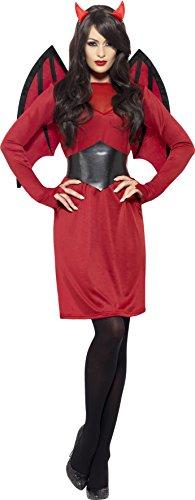 Paar Ideen Kostüme Halloween (Smiffys, Damen Teufelin Kostüm, Kleid, Gürtel, Hörner und Flügel, Größe: L,)