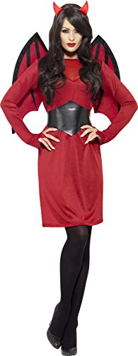Smiffys, Damen Teufelin Kostüm, Kleid, Gürtel, Hörner und Flügel, Größe: L, 43730