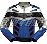 4LIMIT Sports blouson moto ADRENALIN veste en cuir bleu-noir